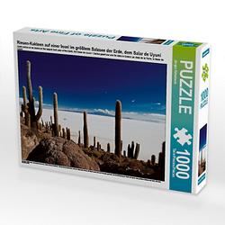 Riesen-Kakteen auf einer Insel im größtem Salzsee der Erde, dem Salar de Uyuni Lege-Größe 64 x 48 cm Foto-Puzzle Bild von www.travel4pictures.com Puzzle