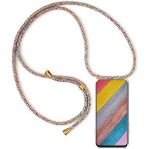 Handykette Handyhülle für Samsung Galaxy A5 2016/A510 mit Band - Handy-Kette Handy Hülle mit Kordel zum Umhängen Handyanhänger Halsband Lanyard Case-Rainbow