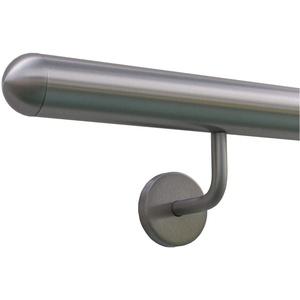 Edelstahlhandlauf Länge 0,3m - 6m aus einem Stück & unterschiedlichen Endstücken zum Auswählen Ø 33,7 mm mit gewinkelte Halter, Beispiel:Länge 190 cm mit 2 Halter, Enden mit halbrunde Kappe