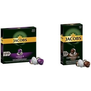 Jacobs Kaffeekapseln Lungo Intenso, Intensität 8 von 12, 200 Nespresso®* kompatible Kapseln, 10 x 20 Getränke & Kapseln Espresso Intenso, Intensität 10,100 Nespresso®* kompatible Kaffeekapseln, 10x10