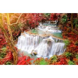 Papermoon Fototapete Huay Mae Kamin Autumn Waterfall, glatt 3,5 m x 2,6 m