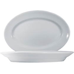6 x Tivoli Uni Platte oval 38cm * - weiß - Saturnia