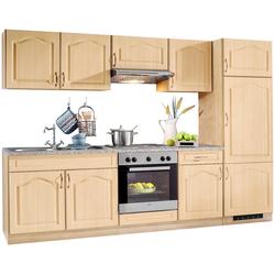 wiho Küchen Küchenzeile Linz, mit E-Geräten, Breite 270 cm, mit Edelstahl-Kochmulde braun