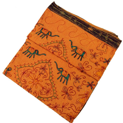 Tagesdecke Bestickte indische Tagesdecke, besticktes.., Guru-Shop orange