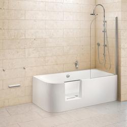 Ottofond Dusch-Badewanne Free-Gate mit Tür links mit Ablaufgarnitur mit Wassereinlauf Weiß 180 x 80 x 46,5 cm