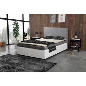 Küchen-Preisbombe Bett Boxspringbett Hotelbett 140x200 Bonellfederkern Bett Topper Paxos 3 Grau Weiß