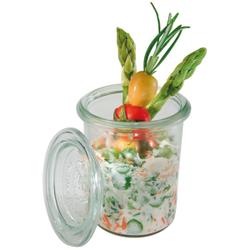 APS Weck-Glas mit Deckel, 12er Set, 12 praktische Gläser mit Deckel, Maße (Ø x H): 6 x 8 cm, 160 ml