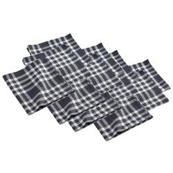 dynamic24 Stoffserviette, (12 St), 12x Landhaus Stoff Tisch Servietten Baumwolle 45x45 schwarz kariert