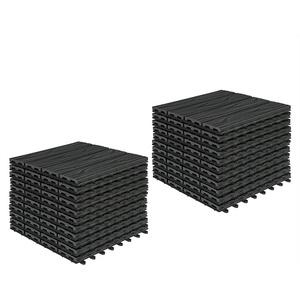 Woltu WPC-Fliesen GTF006, 22er-Set WPC Balkonfliesen in Holzoptik mit Relief