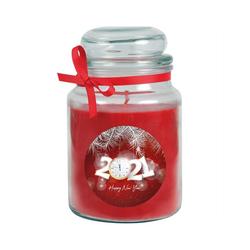 HS Candle Duftkerze (1-tlg), Frohes Neues Jahr - Kerze im Bonbon Glas, Kerze mit Neujahr - Motiv, vers. Düfte / Größen rot Ø 10 cm x 16 cm