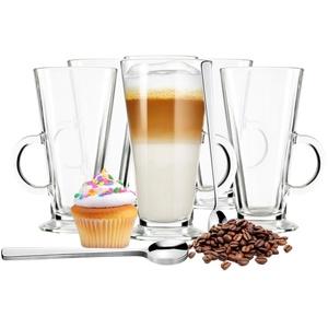 Sendez 6 Latte Macchiato Gläser und 6 Edelstahl-Löffeln (gratis) Kaffeegläser Teeglas