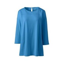 Langes Shirt mit Raffungen in Petite-Größe, Damen, Größe: XS Petite, Blau, Modal, by Lands' End, Antikes Blau - XS - Antikes Blau