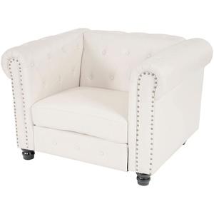 Luxus Loungesessel Sessel Relaxsessel Chesterfield Kunstleder runde Füße, weiß
