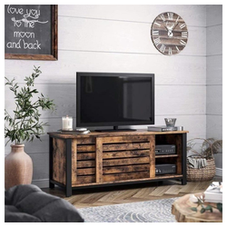 VASAGLE Lowboard LTV41BX, TV-Schrank für Fernseher bis 48 Zoll, Fernsehtisch, Wohnzimmer, Flur, dunkelbraun