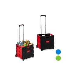 relaxdays Einkaufstrolley 2x Einkaufstrolley klappbar rot