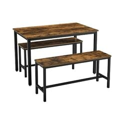 VASAGLE Dining Table with 2 Benches, 3 Pieces Set, Kitchen Table of 110 x 70 x 75 cm, 2 Benches of