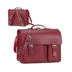Ruitertassen Aktentasche Classic Satchel, 40 cm Lehrertasche mit 2 Fächern, auch als Rucksack zu tragen, dickes rustikales Leder rot