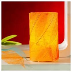 JOKA international LED-Kerze Flammenlose Echtwachskerze Made by Nature, beklebt mit echten Blättern orange
