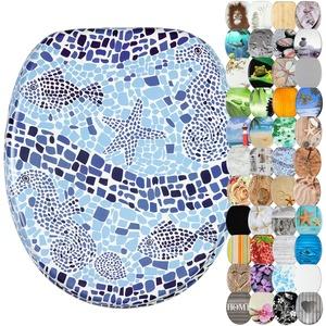 Sanilo WC-Sitz mit Absenkautomatik I Hochwertiger Toilettensitz aus Holz I Toilettendeckel in verschiedenen Motiven (Mosaic World)