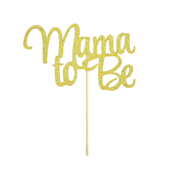 Torten Kuchen Muffin Topper Aufsatz Mama To Be Baby Shower Party Deko - gold