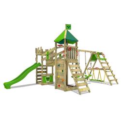 FATMOOSE Spielturm Ritterburg RiverRun mit Schaukel SurfSwing & Rutsche, Spielhaus mit Sandkasten, Leiter & Spiel-Zubehör grün