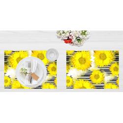 """Platzset, Tischset I Platzset - Blumen - """"Sonnenblumen"""" - 12 Stück aus hochwertigem Papier in Aufbewahrungsmappe, perfekt für die Frühlingsdekoration, Tischsetmacher, (12-St)"""