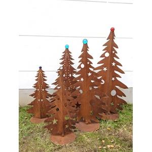 Zen Man Edelrost Garten Weihnachtsdekoration mit Glaskugel Glasdeko Weihnachtsbaum Dekobaum aus Metall Edelrost Rost Weihnachten Deko 032042 Handarbeit (032042: B58*H80cm, Grün)