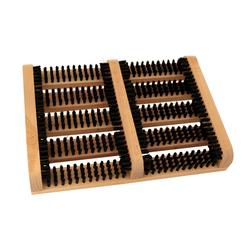 Fußabtreter mit Seitenbürsten Holz Schuhabtreter Schuhbürste