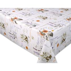 Beautex Tischdecke Wachstuchtischdecke geprägt Provence abwischbar Garten Tischdecke RUND OVAL ECKIG, Größe wählbar (1-tlg) Oval - 140 cm x 200 cm