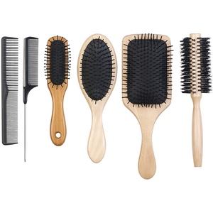 6er-Haarpflege-Set: 3 antistatische Holzbürsten, 1 Rundbürste, 2 Kämme