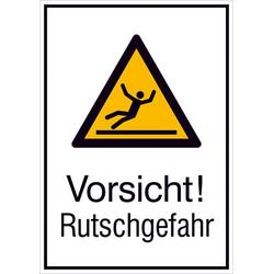 Warn-Kombischild Vorsicht! Rutschgefahr Aluminium (B x H) 131mm x 185mm ISO 7010 1St.