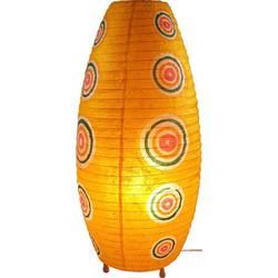 Guru-Shop Tischleuchte Corona Lokta Papier Tischlampe Retro 60 cm gelb