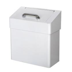 racon® Mülleimer MW cover lady, ca. 7 Liter, Geruchsdichter Mülleimer aus Metall, weiß lackiert, H 320 mm, B 290 mm, T 150 mm