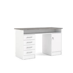 ebuy24 Schreibtisch Plus Schreibtisch mit 1 Regal, 4 Schubladen und 1