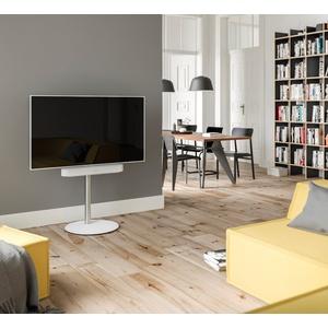 SPECTRAL Circle ist ein moderner wie auch edel anmutender TV-Stand mit drehbarer und höhenverstellbarer TV-Halterung. Für Bildschirme von 32 - 65''. Stabile Sockelplatte aus Stahl mit satinierter Glasauflage. TV-Ständer weiß