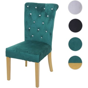 Esszimmerstuhl HWC-D22, Stuhl Küchenstuhl, Nieten Samt ~ dunkelgrün, goldfarbene Beine