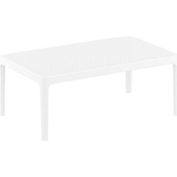CLP Lounge Tisch SKY I Wetterfester Gartentisch aus UV-beständigem Kunststoff I witterungsbeständiger Tisch... weiß