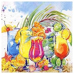Linoows Papierserviette 20 Servietten Karibik Sommer leckeren farbenfrohen, Motiv Karibik Sommer mit leckeren farbenfrohen Cocktails