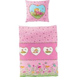 Kinderbettwäsche Reh, Prinzessin Lillifee, mit Blumen rosa