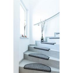 Stufenmatte Newport, Andiamo, halbrund, Höhe 8,5 mm, Teppich-Stufenmatten, Treppen-Stufenmatten, Treppenschutz, für innen, Set mit 2 Stück oder 15 Stück, meliert grau