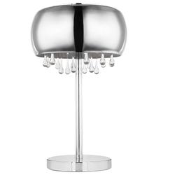 Tischlampe mit Kristallen Tischleuchte Glas rauch Nachttischlampe Kristall Tischleuchte Vintage Retro, 3x G9, DxH 27x40 cm