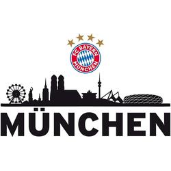 FC Bayern Wandsticker Wandsticker FCB Skyline mit Logo, 60 x 30 cm