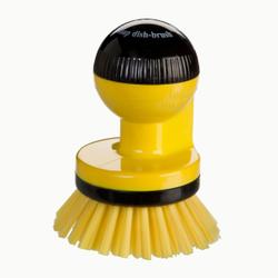 Haug spüli-rondo Knopfbürste, mit Spülmittelspender, Besatz: Nylon 6,6, Farbe: gelb