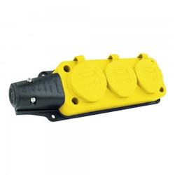 Steckdosenleiste Mehrfachsteckdose 3-fach Aussen Schuko gelb 9672