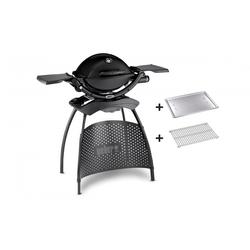 Weber Gasgrill Q1200 Stand Black mit Hitzeschild und Bratenrost