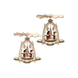 SIGRO Weihnachtsfigur Holz Teelichtpyramide Bergmannfiguren