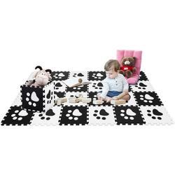 COSTWAY Puzzlematte Puzzlematte 24 Stück schwarz 30 cm x 30 cm x 1 cm