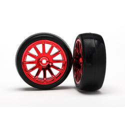Traxxas Slick-Reifen auf Felge rot (2 Stk.)