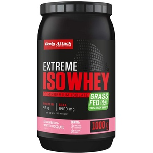 Body Attack Extreme Iso Whey, CFM Whey Protein Isolat aus 100% irischer Weidemilch, glutenfrei, reich an EAAs, perfekt löslich, fettarm, ohne Aspartam, 90,6% Isolat-Anteil (Strawb-White Choc, 1 kg)