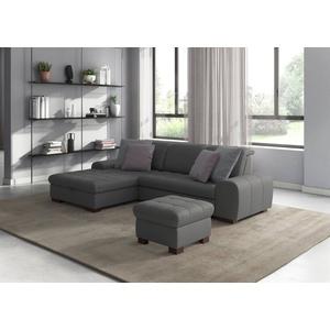 """sit&more Ecksofa, wahlweise mit Bettfunktion, Bettkasten und Kopfteilverstellung, auch erhältlich in dem besonders leicht mit Wasser zu reinigendem """"Soft clean"""" Bezug grau"""